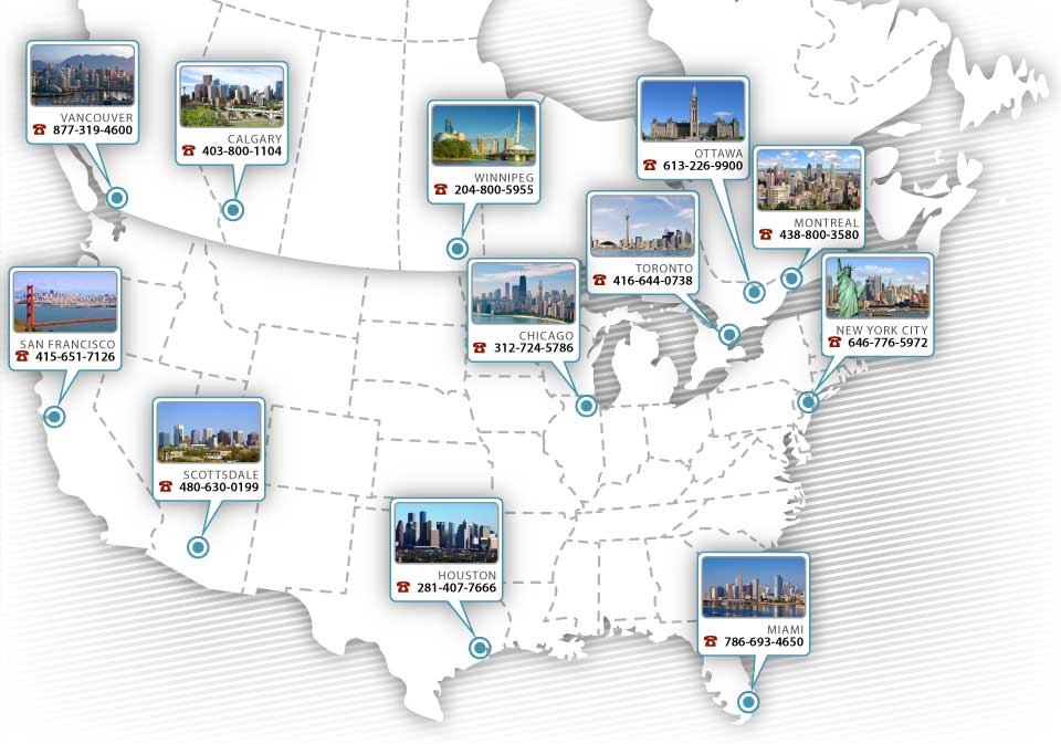 Map of Precision ERP offices in Canada and the United States